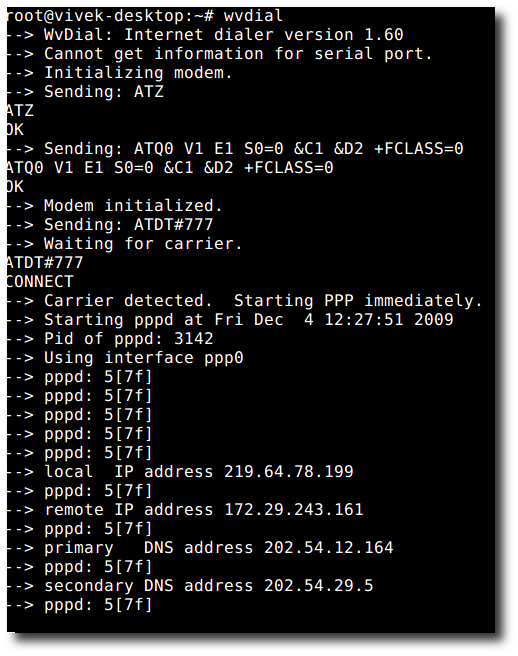 Fig.01: Configuring Photon+ Huawei EC 1260 in Linux (connected via ppp)