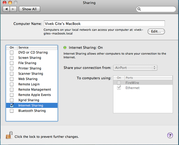 Mac OS X Sharing Airport Internet Connection With Ethernet Connected Computers