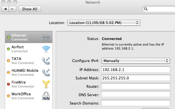 Mac OS X Ethernet Network Settings