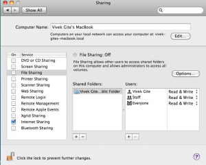 Mac OS X Sharing the Internet Connection And Remote Management Services