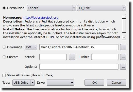 Fig.01: UNetbootin install Linux/BSD distributions to a partition or USB drive