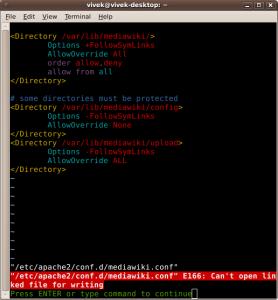 Fig.01: Vim Cannot Open File (Permission Problem)