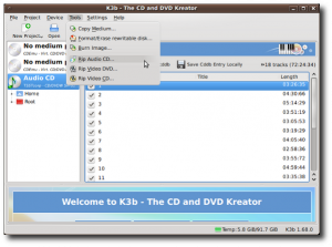 Fig.05: Rip audio CDs using K3B Application