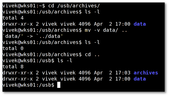 Fig.01: mv Unix / Linux Command