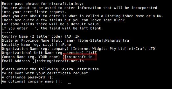 Fig.02: OpenSSL - Create a CSR (Certificate Signing Request)