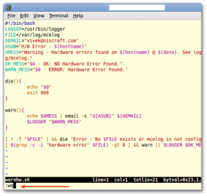 Fig.01: vi / vim write and quit command in action