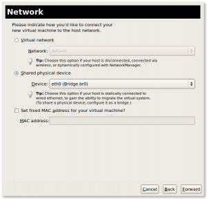 Fig.08: KVM Set Virtual network (NAT) or Shared physical device (bridge br0 or br1)