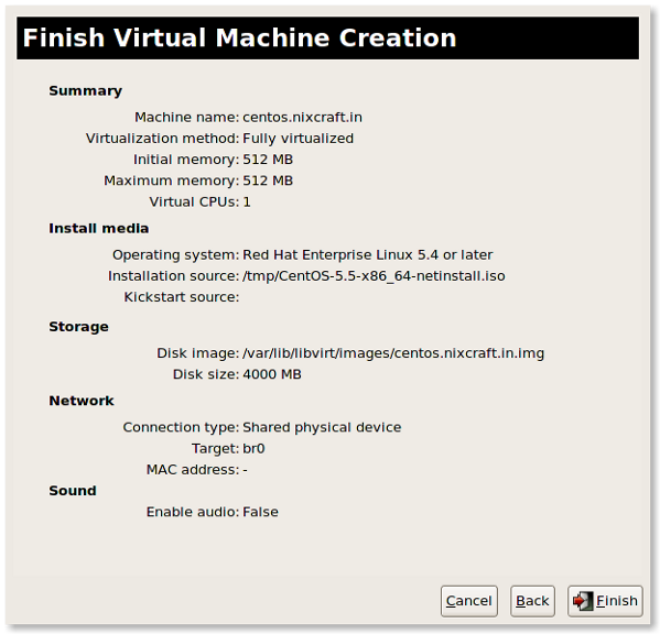 Fig.10: KVM VM setup done and you can start guest installation