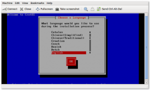Fig.11: KVM - guest operating system installation procedures started using vnc