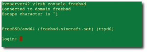Fig.01: Virsh console connected to FreeBSD guest