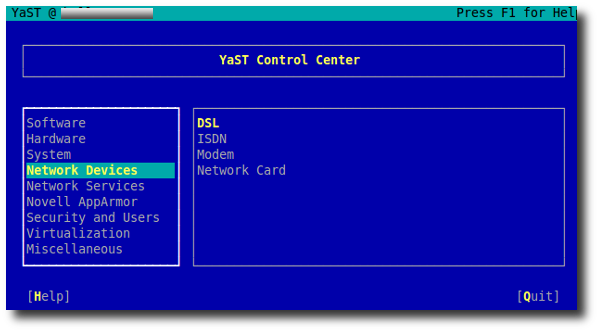 Suse Linux Yast2 Network Device Manager