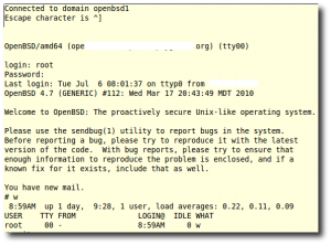 Fig.01: Connected To OpenBSD using KVM serial console
