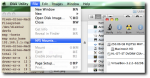 Fig.06: Mounting an NFS using - Disk Utility > File > Mount option