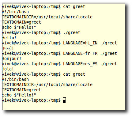 Fig.02: greet - a Bash shell script with localization support