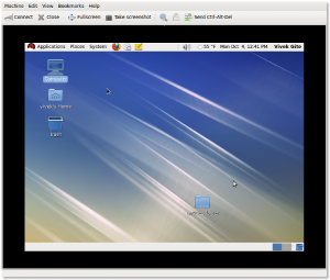Fig.02: RHEL 6 Guest Beta Desktop Over VNC Session Running Under KVM