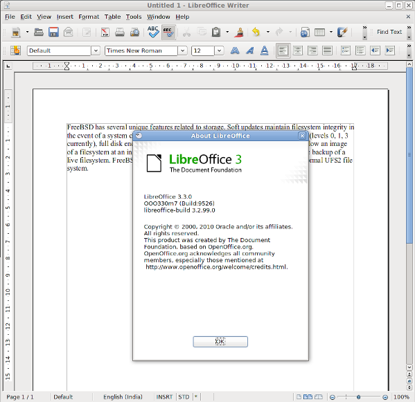 Fig.02: Libreoffice Writer a word processor in action