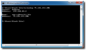 Fig.01: A reverse lookup on an IP address using nslookup.exe