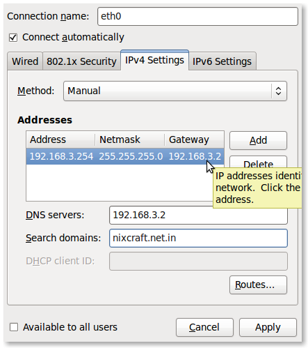 Fig.03: Setting up default gateway (routing table)