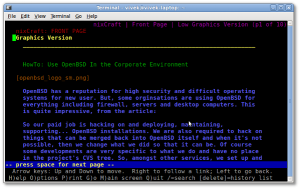 Fig.01: The web page at which Lynx opens is changed to www.cyberciti.biz