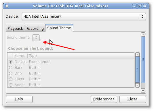 Gnome Volume Control: Disabled Sound Themes