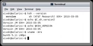 Fig.01: UNIX Check ksh version command ouput