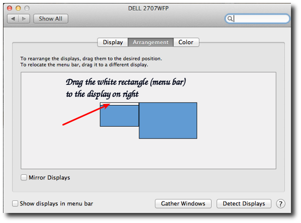Mac OS X: Move the Dock and Menu Bar To External Display