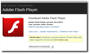 Fig.02: Download Adobe Flash Player for RHEL / CentOS Linux