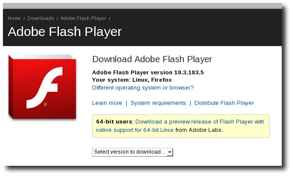 Download Adobe Flash Player for RHEL / CentOS Linux