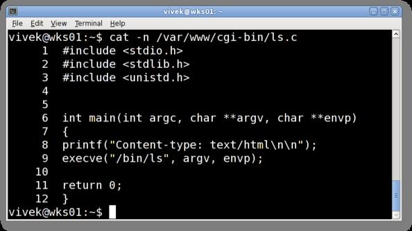 Unix / Linux Number All C Progam Code Ouput Lines