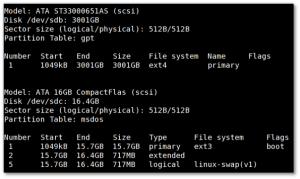 Fig.01: Show Linux Disk Partitions With GNU parted Command