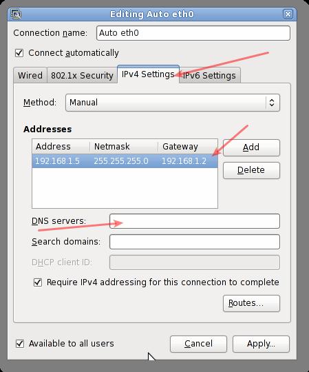 Linux GUI Networking Setting IP Address / Netmask / Gateway Manually