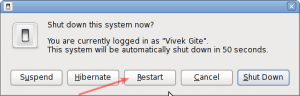 Fig.02: Linux Gnome Desktop Shutdown Options
