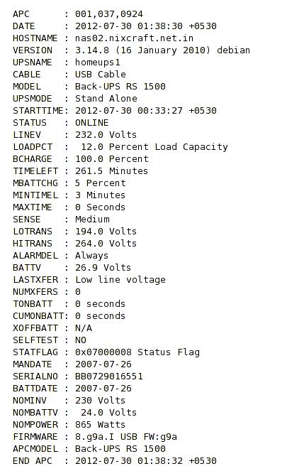 Fig.07: APC UPS status