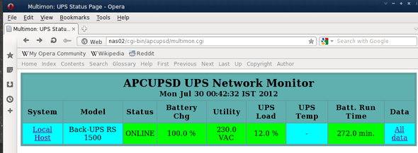 Fig.05: Linux / Unix: Web interface for APC Ups Monitoring