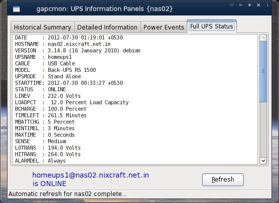 Fig.04: Apc ups full status report