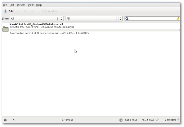 Fig.05 Transmission - a bittorrent client in action