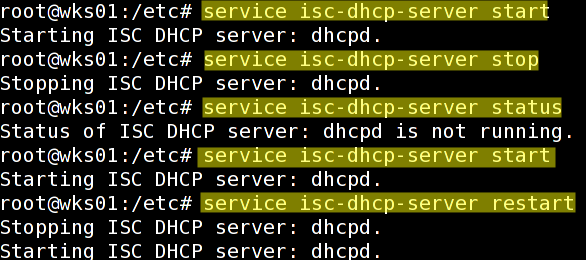 Fig.01: Debian Linux: Start / Stop / Restart DHCPD Server Commands