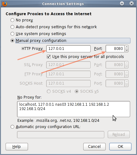 Fig.03: Firefox proxy+SSH tunnel settings