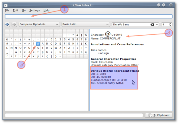 Fig.03: KDE - unicode character look up utility