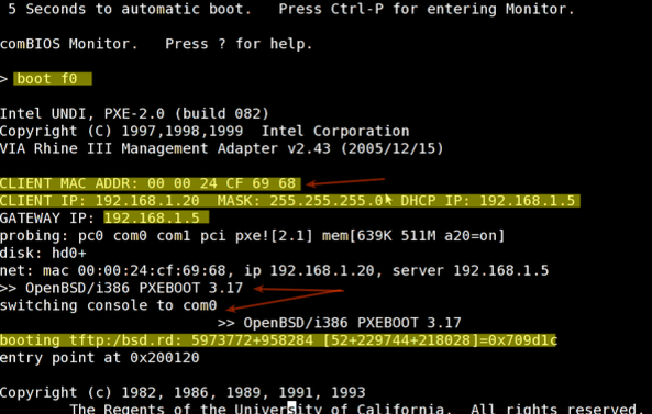 Fig.03: Install OpenBSD is by booting the server via PXE
