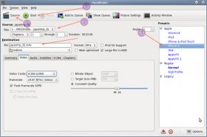 Fig.02: Handbreak GUI App For AVI to M4V (iPhone / iPOD) Format Conversion