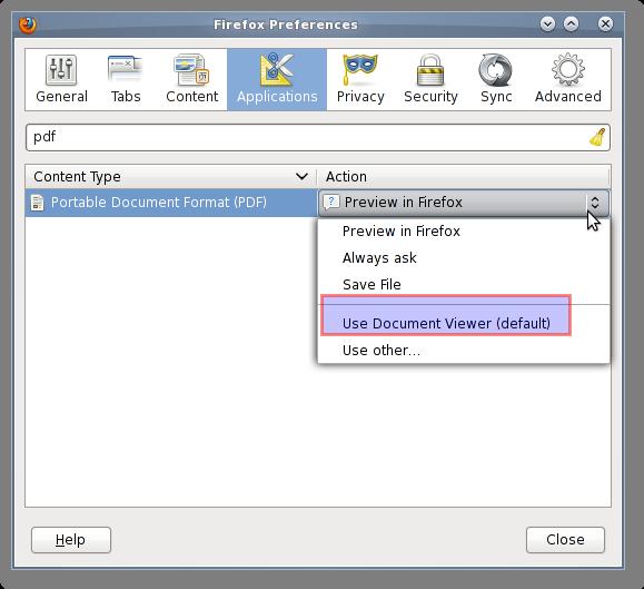 Fig.02: Set the default action for the pdf file
