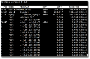 Fig.02: Nethogs in action on my centos/rhel box