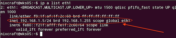 Fig. 01: Display an IP address using ip command on Ubuntu server