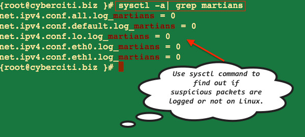 Linux: Log Suspicious Martian Packets / Un-routable Source Addresses