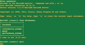 Fig.02: Mariadb test connection on a CentOS / RHEL Linux v7.x