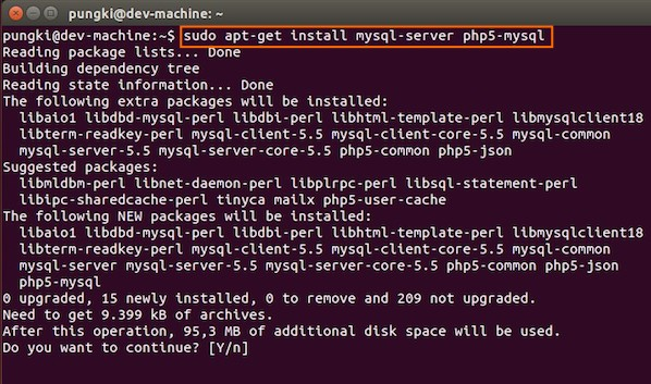 Fig.03: Ubuntu Linux Install MySQL to Manage Site Data with PHP