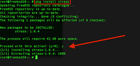 Fig.03: FreeBSD installing stress tool