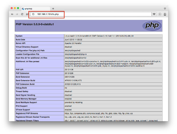 Fig.03 Apache 2 php test page on Debian Linux 8