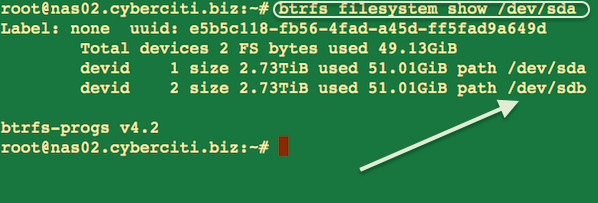 Fig.01 Linux btrfs filesystem show device information command